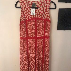 Red and cream polka dot dress